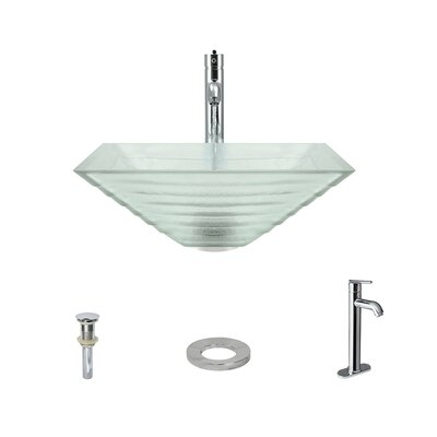 Tiered Glass Square Vessel Bathroom Sink with Faucet Faucet Finish: Chrome