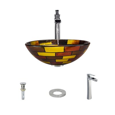 Glass Circular Vessel Bathroom Sink with Faucet Faucet Finish: Chrome