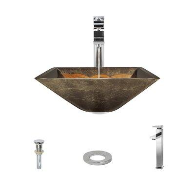Foil Undertone Glass Square Vessel Bathroom Sink with Faucet Faucet Finish: Chrome