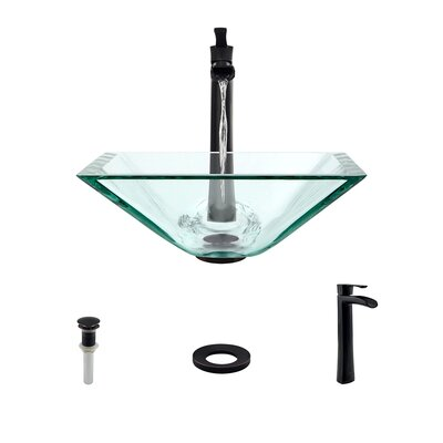 Glass Square Vessel Bathroom Sink with Faucet Sink Finish: Crystal, Faucet Finish: Antique Rubbed Bronze
