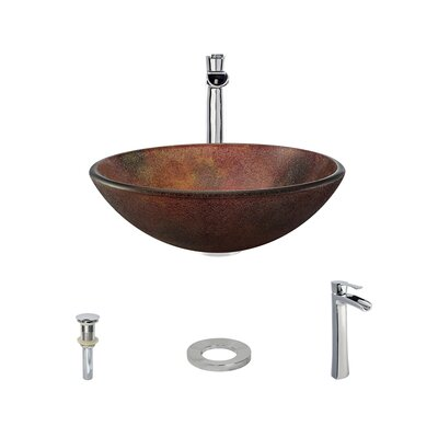Frost Glass Circular Vessel Bathroom Sink with Faucet Faucet Finish: Chrome