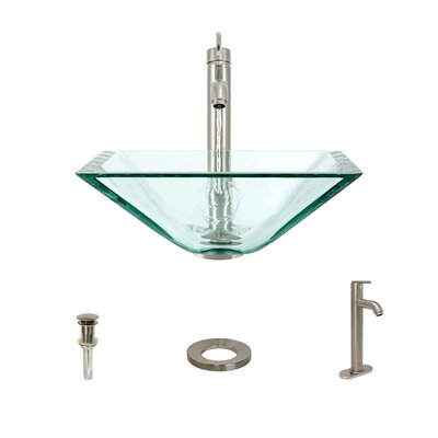 Glass Square Vessel Bathroom Sink with Faucet Sink Finish: Crystal, Faucet Finish: Brushed Nickel