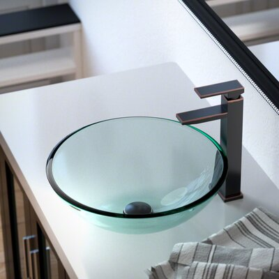 Glass Circular Vessel Bathroom Sink with Faucet Sink Finish: Crystal, Faucet Finish: Antique Rubbed Bronze