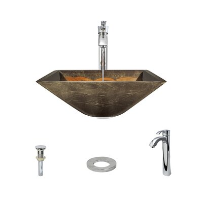Foil Undertone Glass Square Vessel Bathroom Sink with Faucet Faucet Finish: Chrome