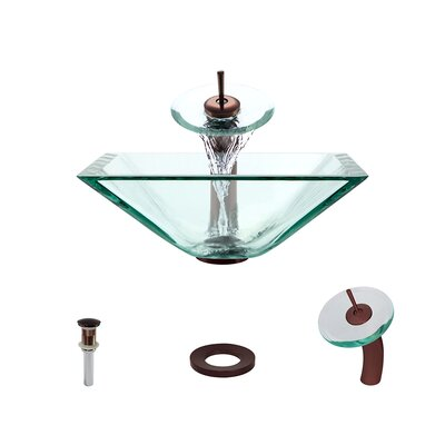 Glass Circular Vessel Bathroom Sink with Faucet Sink Finish: Crystal, Faucet Finish: Oil Rubbed Bronze