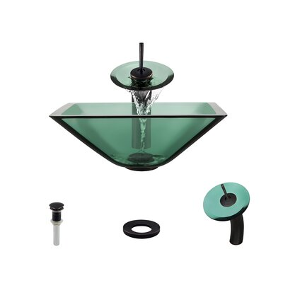 Glass Circular Vessel Bathroom Sink with Faucet Sink Finish: Emerald, Faucet Finish: Antique Rubbed Bronze