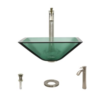 Glass Square Vessel Bathroom Sink with Faucet Sink Finish: Emerald, Faucet Finish: Brushed Nickel