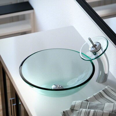 Glass Circular Vessel Bathroom Sink with Faucet Sink Finish: Crystal, Faucet Finish: Chrome