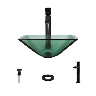 Glass Square Vessel Bathroom Sink with Faucet Sink Finish: Emerald, Faucet Finish: Antique Rubbed Bronze