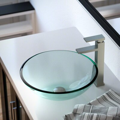 Glass Circular Vessel Bathroom Sink with Faucet Sink Finish: Crystal, Faucet Finish: Brushed Nickel