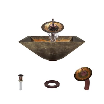 Foil Undertone Glass Square Vessel Bathroom Sink with Faucet Faucet Finish: Oil Rubbed Bronze