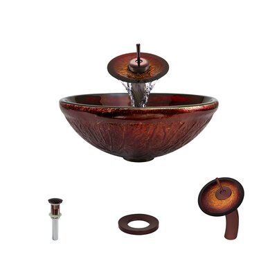 Red Lava Glass Circular Vessel Bathroom Sink with Faucet Faucet Finish: Oil Rubbed Bronze