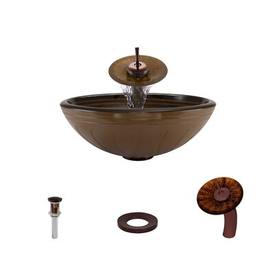 Hand Painted Glass Circular Vessel Bathroom Sink with Faucet Faucet Finish: Oil Rubbed Bronze