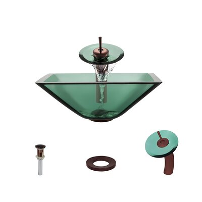 Glass Circular Vessel Bathroom Sink with Faucet Sink Finish: Emerald, Faucet Finish: Oil Rubbed Bronze