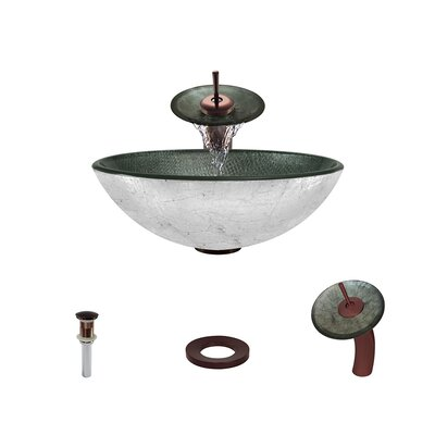 Mesh Glass Circular Vessel Bathroom Sink with Faucet Faucet Finish: Oil Rubbed Bronze