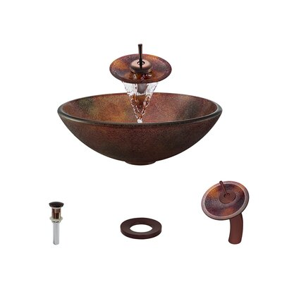 Frost Glass Circular Vessel Bathroom Sink with Faucet Faucet Finish: Oil Rubbed Bronze