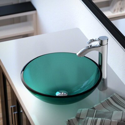 Glass Circular Vessel Bathroom Sink with Faucet Sink Finish: Emerald, Faucet Finish: Chrome