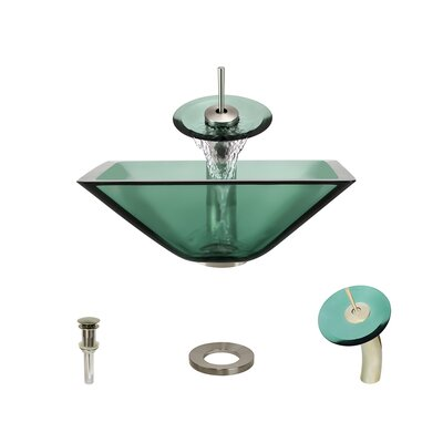 Glass Circular Vessel Bathroom Sink with Faucet Sink Finish: Emerald, Faucet Finish: Brushed Nickel