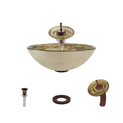 Swirl Foil Undertone Glass Circular Vessel Bathroom Sink with Faucet Faucet Finish: Oil Rubbed Bronze