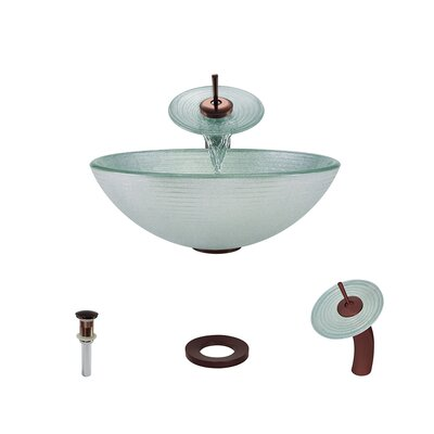 Iridescent Foil Undertone Glass Circular Vessel Bathroom Sink with Faucet Faucet Finish: Oil Rubbed Bronze