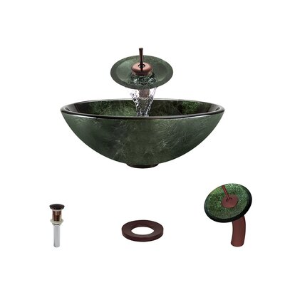 Forest Glass Circular Vessel Bathroom Sink with Faucet Faucet Finish: Oil Rubbed Bronze