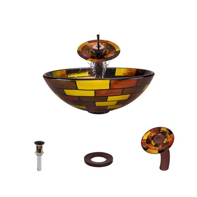 Glass Circular Vessel Bathroom Sink with Faucet Faucet Finish: Oil Rubbed Bronze