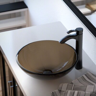 Glass Circular Vessel Bathroom Sink with Faucet Sink Finish: Taupe, Faucet Finish: Antique Rubbed Bronze