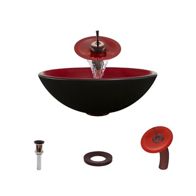 Double Layer Glass Circular Vessel Bathroom Sink with Faucet Faucet Finish: Oil Rubbed Bronze