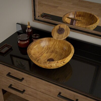 Circular Vessel Bathroom Sink with Faucet Faucet Finish: Oil Rubbed Bronze