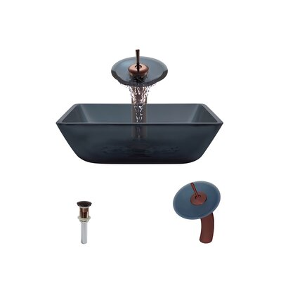 Translucent Black Glass Square Vessel Bathroom Sink with Faucet Faucet Finish: Oil Rubbed Bronze