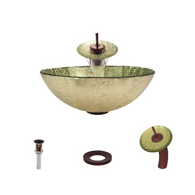 Gold Foil Glass Circular Vessel Bathroom Sink with Faucet Faucet Finish: Oil Rubbed Bronze