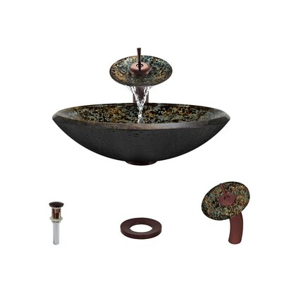 Hand-Painted Foil Undertone Glass Circular Vessel Bathroom Sink with Faucet Faucet Finish: Oil Rubbed Bronze