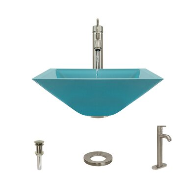 Glass Square Vessel Bathroom Sink with Faucet Sink Finish: Turquoise, Faucet Finish: Brushed Nickel