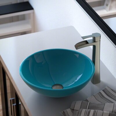 Glass Circular Vessel Bathroom Sink with Faucet Sink Finish: Turquoise, Faucet Finish: Brushed Nickel