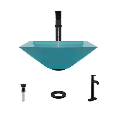Glass Square Vessel Bathroom Sink with Faucet Sink Finish: Turquoise, Faucet Finish: Antique Rubbed Bronze
