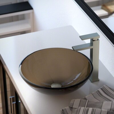 Glass Circular Vessel Bathroom Sink with Faucet Sink Finish: Taupe, Faucet Finish: Brushed Nickel