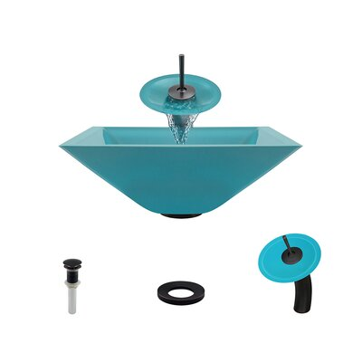 Glass Circular Vessel Bathroom Sink with Faucet Sink Finish: Turquoise, Faucet Finish: Antique Rubbed Bronze