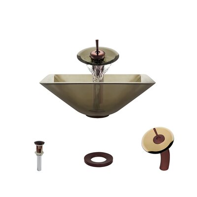 Glass Circular Vessel Bathroom Sink with Faucet Sink Finish: Taupe, Faucet Finish: Oil Rubbed Bronze