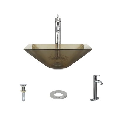 Glass Square Vessel Bathroom Sink with Faucet Sink Finish: Taupe, Faucet Finish: Chrome