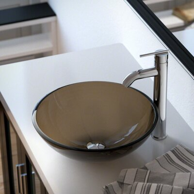 Glass Circular Vessel Bathroom Sink with Faucet Sink Finish: Taupe, Faucet Finish: Chrome