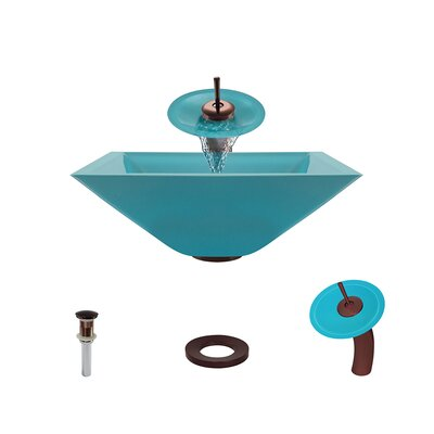 Glass Circular Vessel Bathroom Sink with Faucet Sink Finish: Turquoise, Faucet Finish: Oil Rubbed Bronze