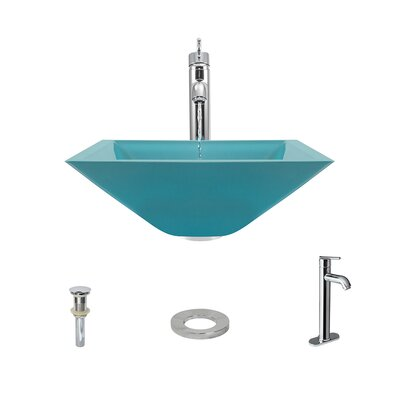 Glass Square Vessel Bathroom Sink with Faucet Sink Finish: Turquoise, Faucet Finish: Chrome