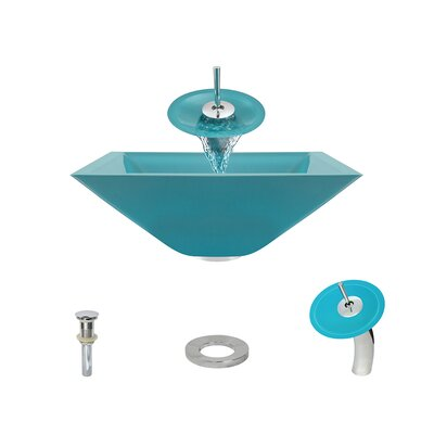 Glass Circular Vessel Bathroom Sink with Faucet Sink Finish: Turquoise, Faucet Finish: Chrome
