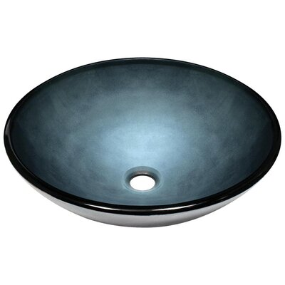 Hand-Painted Glass Circular Vessel Bathroom Sink