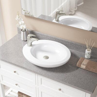 Vitreous China Oval Vessel Bathroom Sink with Faucet Sink Finish: White, Faucet Finish: Brushed Nickel