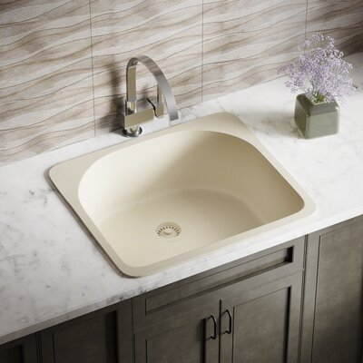 Granite Composite 25 x 22 Drop-in Kitchen Sink with Strainer Finish: Beige