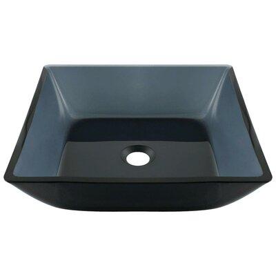 Translucent Black Glass Square Vessel Bathroom Sink