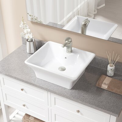 Vitreous China Rectangular Vessel Bathroom Sink with Faucet and Overflow Sink Finish: White, Faucet Finish: Brushed Nickel