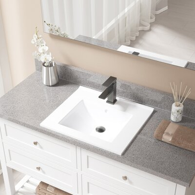 Rectangualr Vitreous China Rectangular Vessel Bathroom Sink with Faucet and Overflow Faucet Finish: Antique Rubbed Bronze