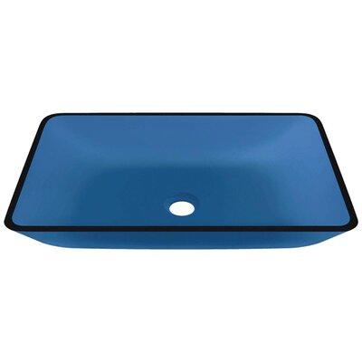 Glass Rectangular Vessel Bathroom Sink Sink Finish: Aqua
